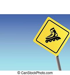 Traffic sign roller - Traffic sign roller sky background...
