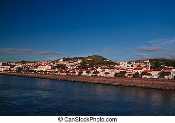 Sea view to Horta marina and city, Faial island, Azores,...