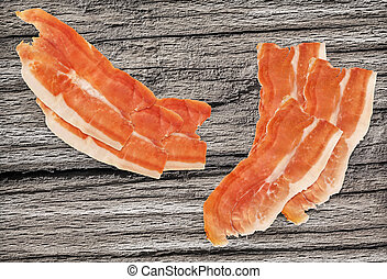 Dry Cured Smoked Pork Ham Slices Set On Old Cracked Wooden...