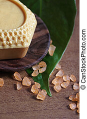 Spa setting with honey soap