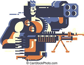Soldier with gun. Army and war, military force, conflict and...