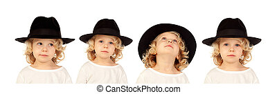 Sequence of a blond child with black hat doing differents expressions