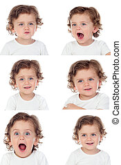 Sequence of portraits with a funny baby doing differents expressions