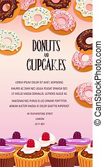 Cupcake and donut pastry dessert banner design - Cupcake and...