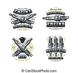 Set of motorcycle club emblem for t-shirt. Graphic design...