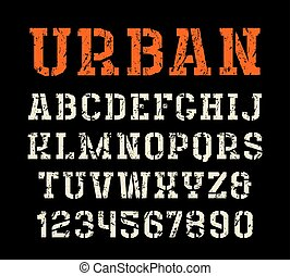 Stencil-plate serif font in urban style. Letters with shabby...