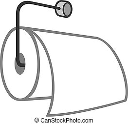 roll of toilet paper hanging on a metal holder vector illustration