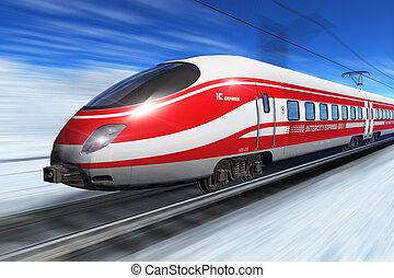 hiver, élevé, vitesse, train