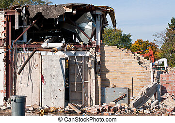 Demolition of an Old HIgh School Building - An old high...