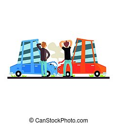 Two people crashing their cars. Car accident colorful character vector Illustration