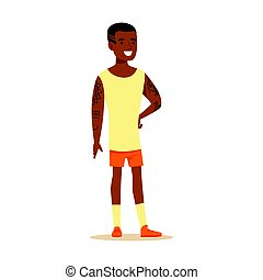 Happy young man in shorts and sleeveless shirt with tattoos on his hands standing. Colorful cartoon character vector Illustration
