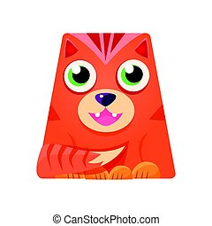 Lovely geometric tiger in the shape of a trapezoid, colorful cartoon character vector Illustration