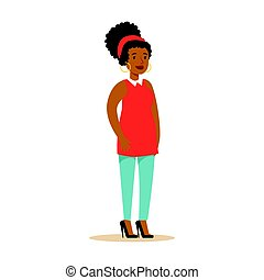 Casual African American girl in casual clothes wirh big earrings. Colorful cartoon character vector Illustration