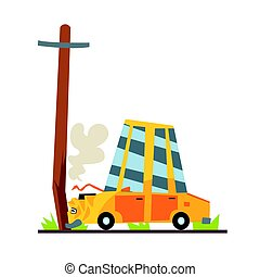 Car crashed into street post, car accident colorful character vector Illustration