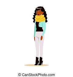 Beautiful young African American woman with curly long hair in casual clothes. Colorful cartoon character vector Illustration