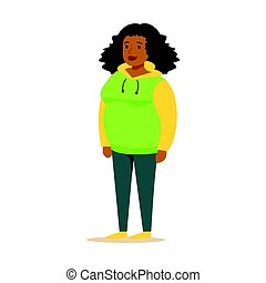Young black woman in a hoodie with curly hair. Colorful cartoon character vector Illustration