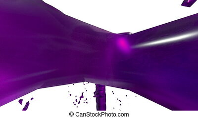 Beautiful fountain violet liquid splash, fountain 3d on white background with alpha matte. Juice stream is rising high. 3d with very high detail. Version 10