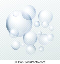 Soap bubbles isolated on transparent background. Vector illustration