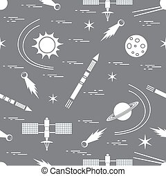 Seamless pattern with variety space exploration elements....
