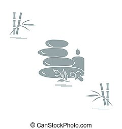 Stylized icon of massage stones for spa procedures, leaves,...