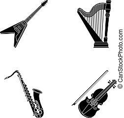 Electric guitar, loudspeaker,harp, saxophone, violin.Music instruments set collection icons in black style vector symbol stock illustration web.