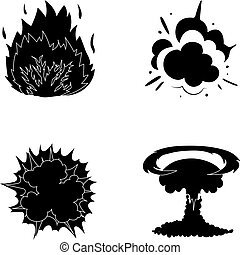 Flame, sparks, hydrogen fragments, atomic or gas explosion. Explosions set collection icons in black style vector symbol stock illustration web.