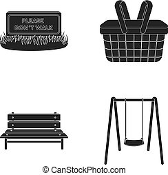 Lawn with a sign, a basket with food, a bench, a swing. Park set collection icons in black style vector symbol stock illustration web.