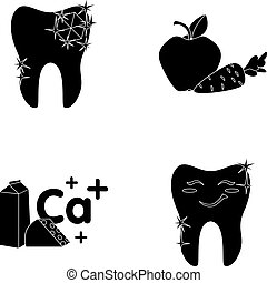 A tooth with brilliant sparkling, an apple with carrots useful for teeth, milk in a box, cheese and a sign of calcium, a smiling tooth. Dental care set collection icons in black style vector symbol stock illustration web.