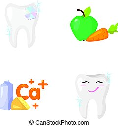 A tooth with brilliant sparkling, an apple with carrots useful for teeth, milk in a box, cheese and a sign of calcium, a smiling tooth. Dental care set collection icons in cartoon style vector symbol stock illustration web.