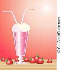 strawberry milkshake - an illustration of a strawberry...