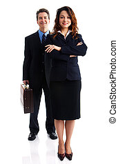 Business people - Young smiling business woman and business...