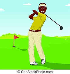 African american male golf player hitting the ball....