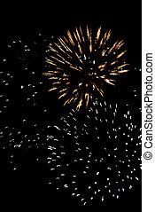 Celebration fireworks explosion on the night sky