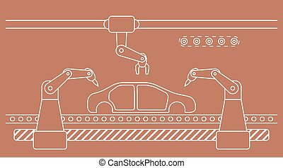Thin line style car assembly line.