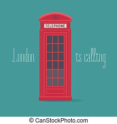 England, London red phone booth vector illustration with...