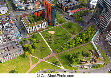 Dusseldorf, Germany - May 11, 2017: High top view of city...