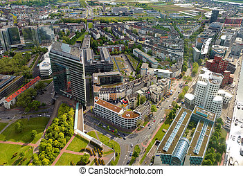 High top view of city office buildings from Dusseldorf Rhine...