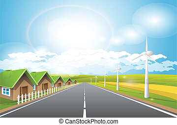 Renewed energy - Illustration, long road and wind power...