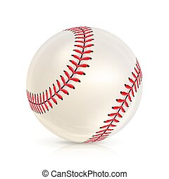 Baseball Leather Ball Close-up Isolated On White. Realistic...