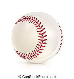 Baseball Leather Ball Isolated On White. SoftBall Base Ball. Shiny Baseball Ball. Sport Leather Ball. Vector Illustration