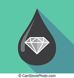 Long shadow oil drop with a diamond - Illustration of a long...