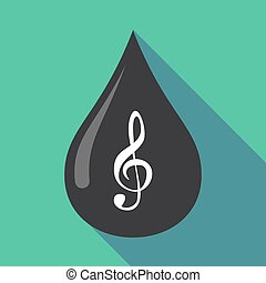 Long shadow oil drop with a g clef - Illustration of a long...