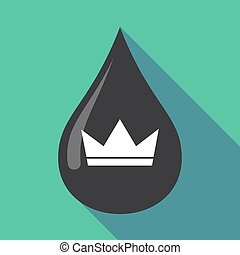 Long shadow oil drop with a crown - Illustration of a long...