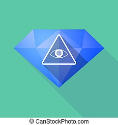 Long shadow diamond with an all seeing eye - Illustration of...