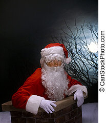 Chimney Santa - Santa relaxed partly inside a chimney on a...