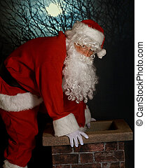 Santa's Entry - Santa at work -- stepping into a chimney on...