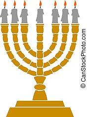 Jewish Menorah candlestick vector illustration