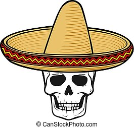 sombrero (mexican hat) and skull vector illustration