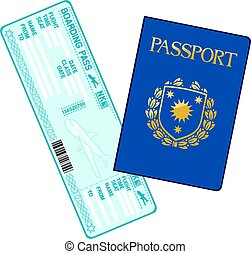 passport and airline boarding pass ticket vector illustration
