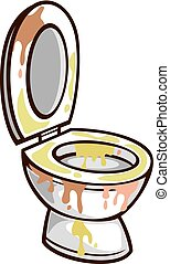 dirty toilet bowl vector illustration